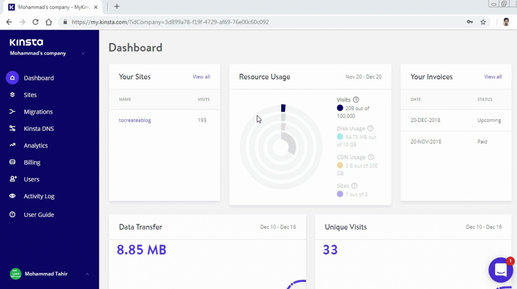 Kinsta Dashboard for blog and user management