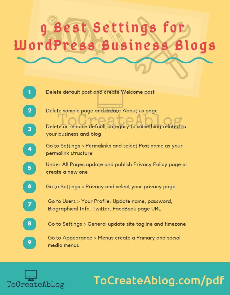 9 Best Settings for WordPress Business Blogs