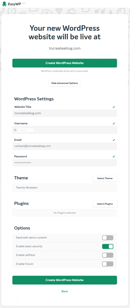 Setting up WordPress at EasyWP