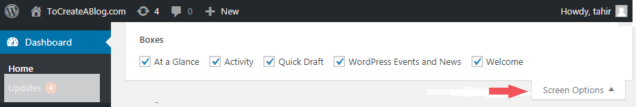 WordPress Screen Options
