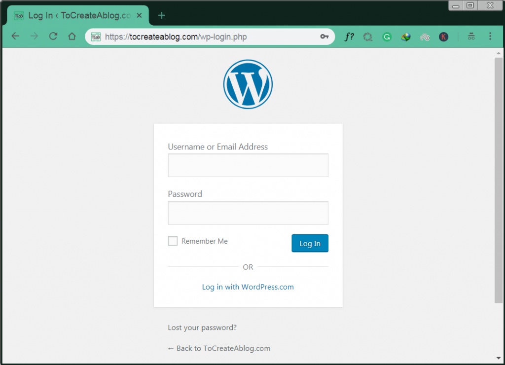 how to access WordPress login page?