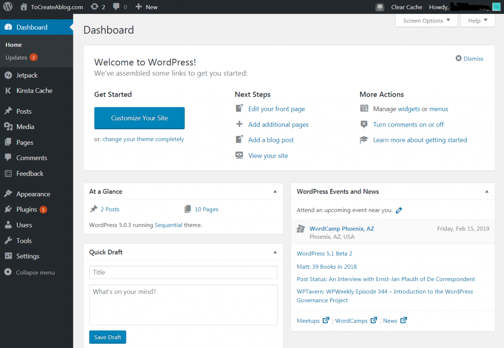 how to set up WordPress dashboard?