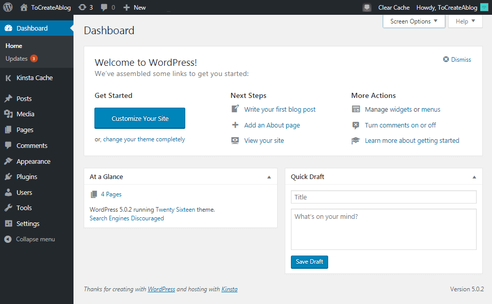WordPress dashboard overview