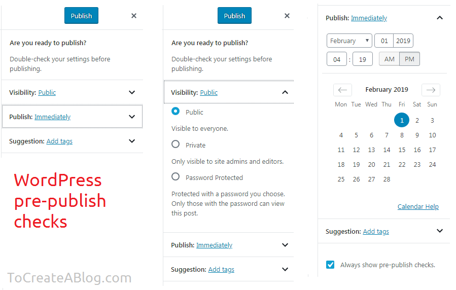 WordPress pre publish checklist