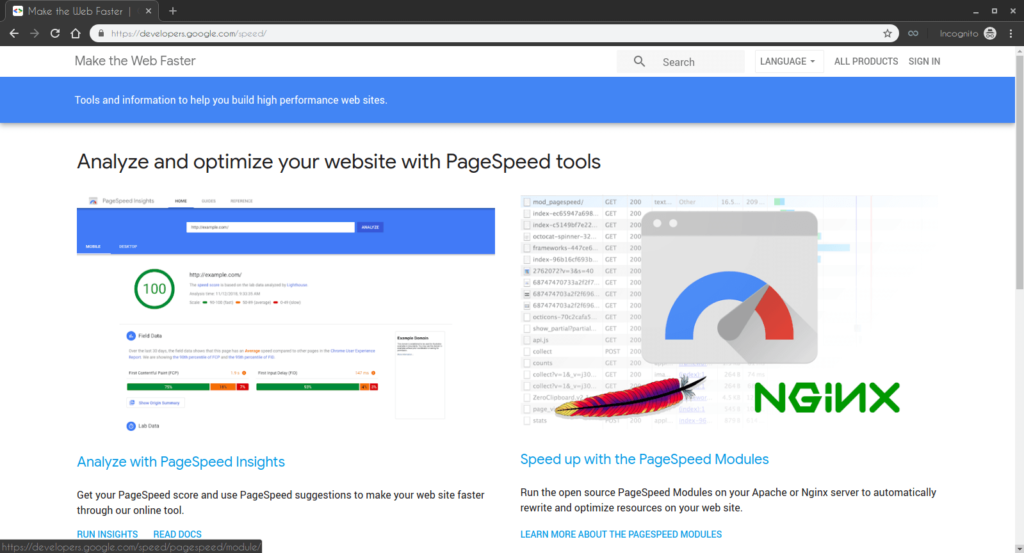 Analyze and optimize your website with PageSpeed tools